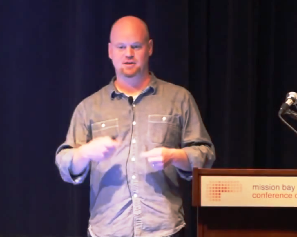 Former Nielsen architecture lead Darrell Pratt during his Couchbase presentation in September 2013